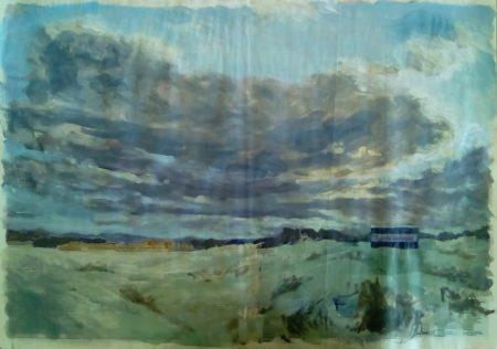 Fuerte aventura - Acriiilico y collage sobre papel de periooodico - 57x79cm
