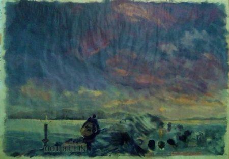 Abrazo infinito es la noche - Acriiilico y collage sobre papel de periooodico - 57x79cm