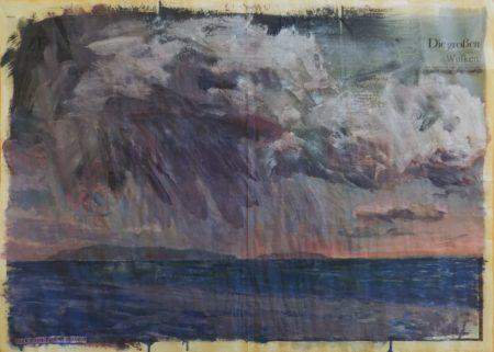 El elogio de los meteroros - Acriilico y collage en papel de periooodico - 57x79cm
