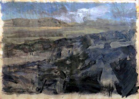 El paisaje estaaa desnudo - Acriiilico y collage en papel de periooodico - 57x79cm