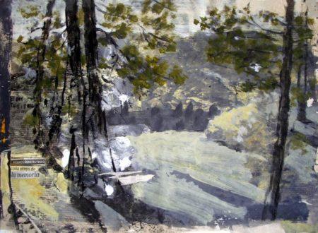 Del paisaje la memoria - Acriiilico y collage sobre papel de periooodico - 42x57cm