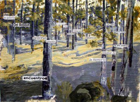 La galeriiia del bosque - Acriiilico y collage sobre papel de periooodico - 42x57cm