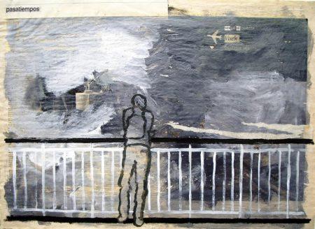 En el puente - Acriiilico y collage sobre papel de periooodico - 42x57cm