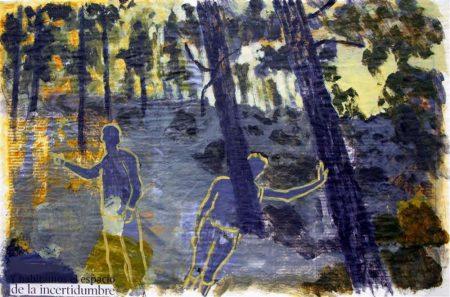 Nuestras poses en el laberinto - Acriiilico y collage sobre papel de periooodico - 42x57cm