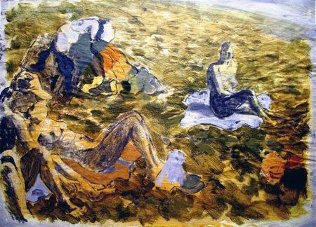 En la playa - Acriiilico sobre papel de periooodico - 42x57cm