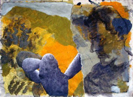 Un encuentro - Acriiilico y collage sobre papel de periooodico - 42x57cm