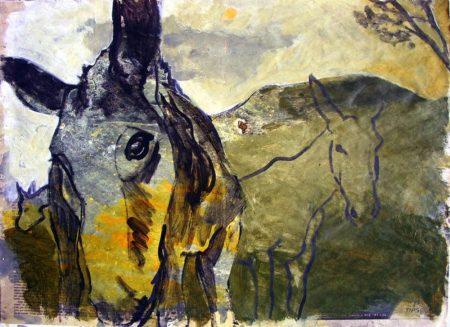 Burros - Acriiilico sobre papel de periooodico - 42x57cm