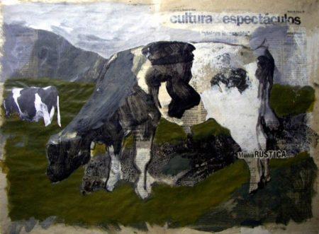 Muuusica ruuustica - Acriiilico y collage sobre papel de periooodico - 42x57cm