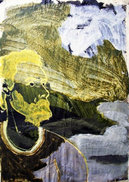 Llenarse de paisaje - Acriiilico y collage sobre papel de periooodico - 57x42cm