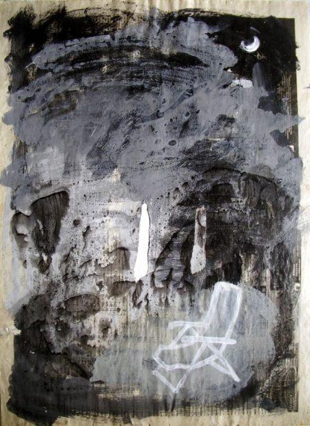 Silla Aaarbol Puertas - Acriiilico sobre papel de periooodico - 57x42cm