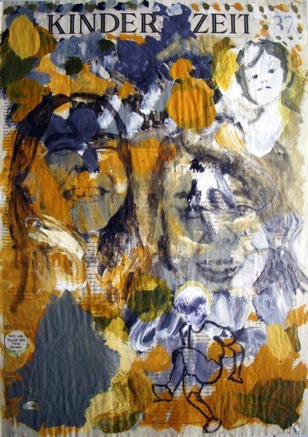 Kinder Zeit - Acriiilico y collage sobre papel de periooodico - 57x42cm