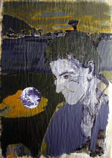 Viajera - Acriiilico y collage sobre papel de periooodico - 57x42cm