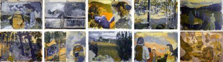 Composiciooon Diario de Campo - Acriiilico y collage sobre papel de periooodico - 42x57cm cu