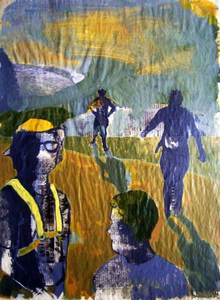 Diario de campo · Caminantes - Acriiilico y collage sobre papel - 57x42cm