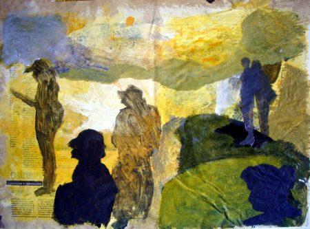 Diario de campo · Buscadores de luz - Acriiilico y collage sobre papel - 42x57cm