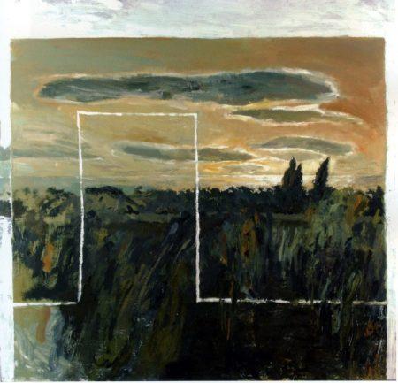 CuadroDo-Casa llenaaandose de paisaje - OOOleo sobre lienzo - 116x116cm