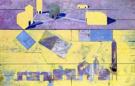 Estudio de las cotas del pensamiento - Acriiilico y collage sobre paleees - 78x121cm