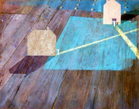 La vida feliz - Acriiilico y collage sobre paleees - 88x105cm