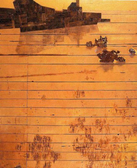 Viejo barco en el viejo muelle - Acriiilico y collage sobre paleees - 88x105cm